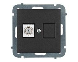 Gniazdo telewizyjne pojedyncze Elektro-Plast Sentia typ F moduł bez ramki czarne