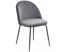 Krzesło welurowe do jadalni szare nowoczesne