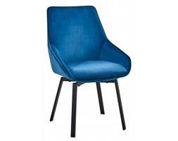 Krzesło welurowe do salonu niebieskie glamour