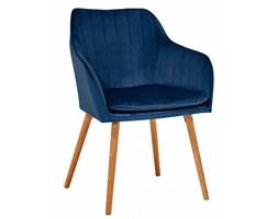 Krzesło do salonu niebieskie welur skandynawskie