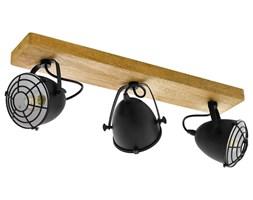 EGLO Reflektor Gatebeck, 3 żarówki, stal i drewno, czarny