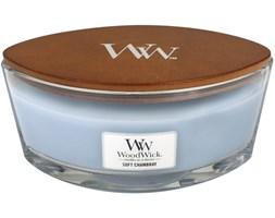 WoodWick Heartwick świeca zapachowa z drewnianym knotem w szkle łódka - Soft Chambray
