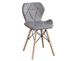 Nowoczesne profilowane krzesła z eko skóry - szare