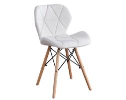 Nowoczesne profilowane krzesła z eko skóry - białe