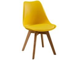 Nowoczesne krzesła skandynawskie z poduszką - żółte