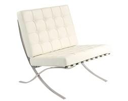 Fotel BARCELON PRESTIGE biały - włoska skóra naturalna, stal polerowana