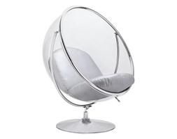 Fotel BUBBLE STAND 2 poduszka srebrna - akryl, chrom, ekoskóra