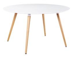 Stół LIVING FI 120 biały - blat MDF, bukowe nogi
