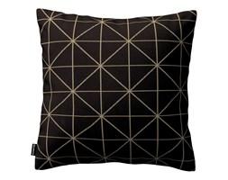 Dekoria Poszewka Kinga na poduszkę, czarno-beżowy ze złotą nitką, 43 × 43 cm, Black & White