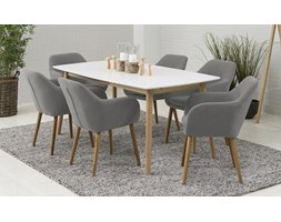 Zestaw Actona Nagano Meblobranie stół dębowy nowoczesny biały krzesła Emilia