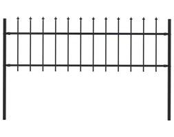 vidaXL Panel ogrodzeniowy z grotami, 1,7 x 0,6 m, czarny