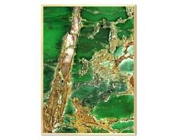 MINERAŁ ZIELONO - ZŁOTY obraz złoty w ramie, 53x73 cm
