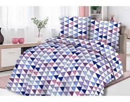 Pościel flanelowa 160x200 31448/2 fioletowe niebieskie trójkąty