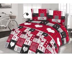Pościel flanelowa 200x220 31444/2 czerwona czarna szara serca renifery świąteczna