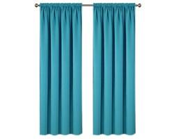 Zasłona ELODIA z matowej tkaniny na taśmie 145x250cm: Kolor - Niebieski