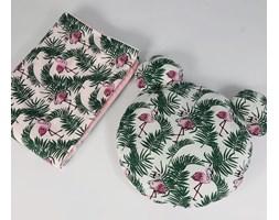 SALE Zestaw kocyk letni + poduszka miś - flamingi