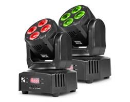 Beamz MHL36 Moving Head Zestaw 2 projektorów LED 4 x dioda LED 9 W 4w1 RGBW 4 show świetlne kolor czarny