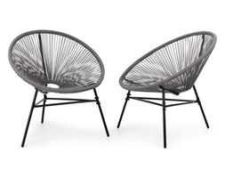 Blumfeldt Las Brisas Chairs Fotel ogrodowy zestaw 2 sztuk styl retro plecionka 4 mm szary