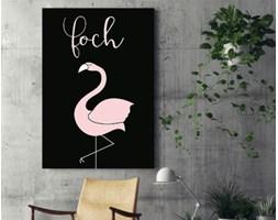 """Obraz na płótnie - """"Foch"""" z flamingiem - typografia - 80 x 120 cm"""