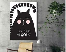 Obraz na płótnie - Ilustracja - kot z hasłem motywacyjnym - 80 x 120 cm