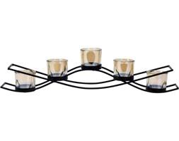 Świecznik szklany długi, 5 tealight, kolor czarny