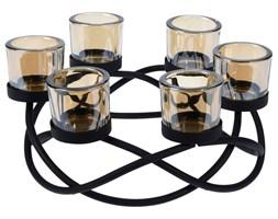Świecznik szklany, 6 tealight, metalowa podstawa