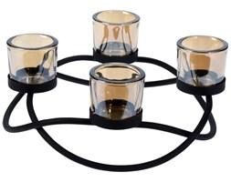 Metalowy świecznik okrągły, 4 tealighty, kolor czarny