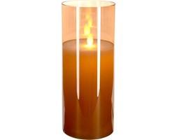 Świeca LED z efektem ruchomego płomienia, szklana, 10 x 25 cm