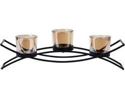 Świecznik szklany, 3 tealighty, metalowa podstawa, kolor czarny