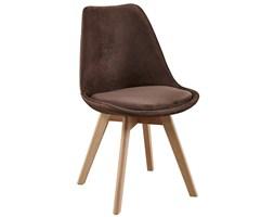 Nowoczesne krzesła Tapicerowane skandynawskie WELUROWE - brązowe