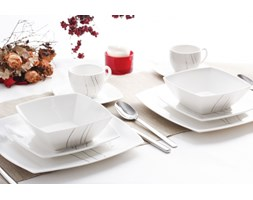 Serwis obiadowy FALA na 6 osób (30 el.) -- biały czarny - rabat 10 zł na pierwsze zakupy!