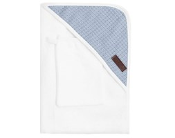 Bamboom - Ręcznik Bambusowy z Kapturkiem + Myjka, Biały i Niebieski, 0m+