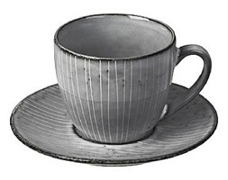 Filiżanka ze spodkiem szara ceramiczna Broste Copenhagen