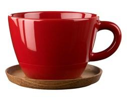 Duża filiżanka czerwona z drewnianym spodkiem 500 ml Hoganas Keramik