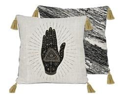 Dwustronna poszewka na poduszkę z domieszką lnu Madre Selva Black Hand, 45x45 cm