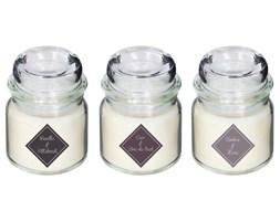 Komplet świec zapachowych: wanilia, drewno, ambra, 3 sztuki