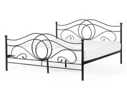 Łóżko czarne - 180x200 cm - metalowe - ze stelażem - podwójne - LYRA