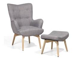 Fotel tapicerowany jasnoszary z hokerem VEJLE