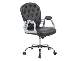 Krzesło biurowe skóra ekologiczna czarne PRINCESS