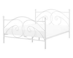 Łóżko białe 160 x 200 cm metalowe ze stelażem DINARD