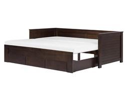 Łóżko wysuwane drewniane ciemny brąz ze stelażem 90 x 200 cm CAHORS