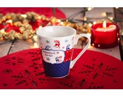 Kubek świąteczny VERONI GRANATOWE RENIFERY 250 ml - rabat 10 zł na pierwsze zakupy!