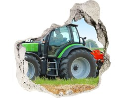 Foto zdjęcie dziura na ścianę Traktor na polu