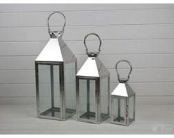 KOMPLET LATARNI METALOWYCH LAMPIONY CHROMOWANE 3SZT