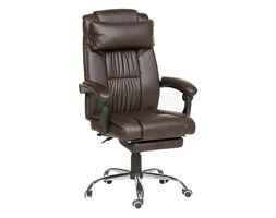 Beliani Krzesło biurowe skóra ekologiczna ciemnobrązowe LUXURY