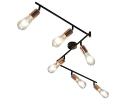 vidaXL Lampa z 6 reflektorami, czarno-miedziana, 30 cm, E27