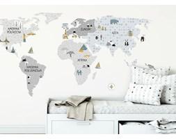 naklejka   mapa świata - szara Pastelowe Love