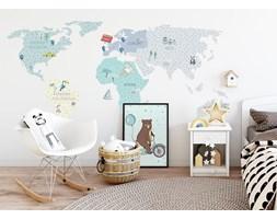 naklejka   mapa świata - miętowa Pastelowe Love