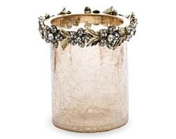 MISSY wazon / świecznik z popękanego szkła z cyrkoniami, wys. 12 cm