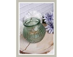 świecznik szklany zielony 15 cm